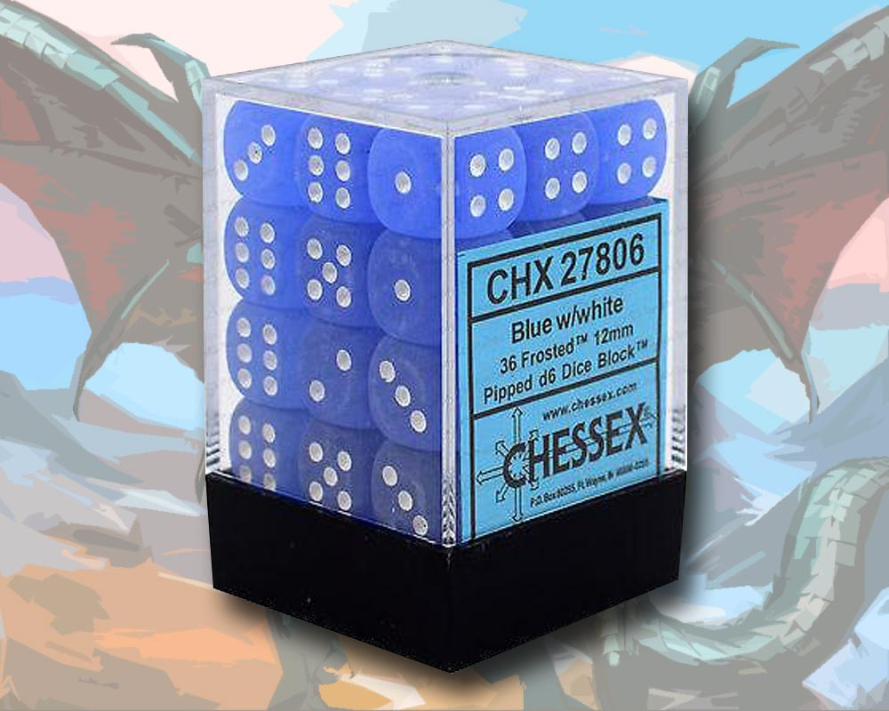 D6 Dice Set Box x36 (12mm) Chessex Frosted Blue