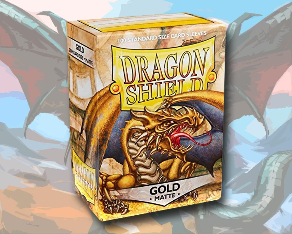 100 Dragon Shield Card Sleeves Standard Matte Gold